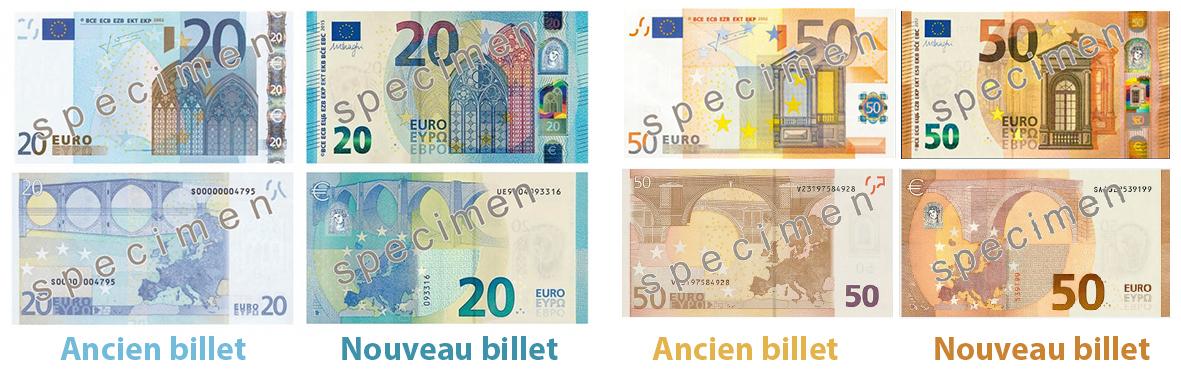 visuel des nouveaux et anciens billets de 50€ et de 20€