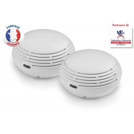 Lot de 2 détecteurs de fumée radio certifiés NF Lifebox VolysR à pile Lithium 10 ans